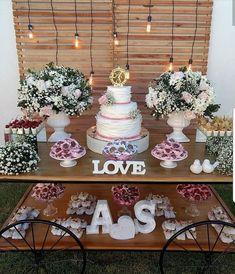 38 Ideas For Wedding Rustic Cake Casamento Purple Wedding Cakes, Wedding Cake Rustic, Rustic Cake, Wedding Types, Trendy Wedding, Birthday Decorations, Wedding Decorations, Tea Party Bridal Shower, Cake Table