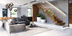 House Goals, Modern House Design, Living Room Designs, New Homes, Stairs, Album, Furniture, Home Decor, Townhouse