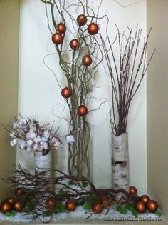 The French Bouquet - Decking the Halls with Christmas Decor for a Merry Rustic Christmas- pussy willows and cotton Christmas Love, Country Christmas, All Things Christmas, Winter Christmas, Christmas Wreaths, Christmas Decorations, Xmas, Christmas Branches, French Christmas