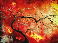 Abstract Tree Paintings | Abstract Art Floral Tree Landscape Painting Fresh Blossoms By Madart ...