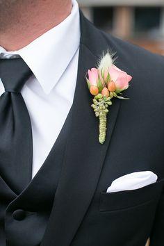 #boutonniere  Photography: Jen + Ashley - www.jenandashley.com  Read More: http://www.stylemepretty.com/2014/01/14/elegant-backyard-wedding-in-newport-news/