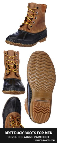 Sorel Men's Cheyanne Lace Rain Boot || Findyourboots.com reviews and compares the best mens duck boots you can buy this season. 5 awesome high quality alternatives to the famous men's LL Bean Boot. These boots are perfect for rainy days in the fall. Check out the full reviews at http://www.findyourboots.com/best-mens-duck-boots/