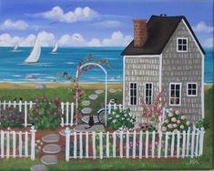 Impresión de arte jardín de Nantucket por KimsCottageArt en Etsy