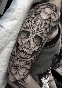 Animal Skull Tattoos, Skull Tattoo Flowers, Skull Sleeve Tattoos, Sugar Skull Tattoos, Best Sleeve Tattoos, Tattoo Sleeve Designs, Skull Thigh Tattoos, Dragon Tattoos, Skull Tattoo Girls