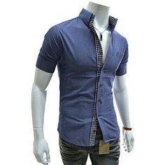 (AL202-BLUE) Slim Fit Checker Patched Pocket Short Sleeve Shirts