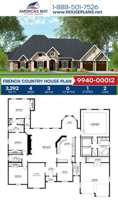 Designed with lovely French Country appeal, Plan 9940-00012 with 3,292 sq. ft., 4 bedrooms, 3 bathrooms, split bedrooms, and a home office. #frenchcountry #european #architecture #houseplans #housedesign #homedesign #homedesigns #architecturalplans #newconstruction #floorplans #dreamhome #dreamhouseplans #abhouseplans #besthouseplans #newhome #newhouse #homesweethome #buildingahome #buildahome #residentialplans #residentialhome Best House Plans, Dream House Plans, Floor Plan Drawing, French Country House Plans, Construction Cost, Open Layout, French Countryside, Build Your Dream Home, Building A House