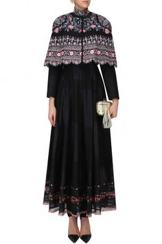 Rahul Mishra Black Anarkali Dress with Hand Embroidered Cape #happyshopping #shopnow #ppus