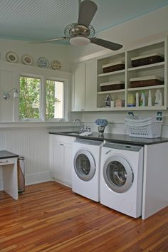 Ceiling fan in laundry room to dry clothes faster or a TABLE FAN ON COUNTER