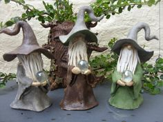 Hand Crafted Little Fairy Garden Wizard With by BlackMoonAtelier