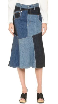 What Goes Around Comes Around Comme Des Garcons Denim Patchwork Skirt (Previously Owned)