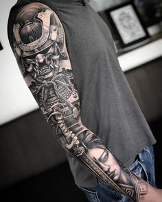 Samurai Sleeve By 💥 💥 12 Tattoos, Forarm Tattoos, Japanese Sleeve Tattoos, Full Sleeve Tattoos, Best Sleeve Tattoos, Tattoo Sleeve Designs, Forearm Tattoo Men, Tattoo Designs Men, Japanese Geisha Tattoo
