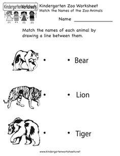 math worksheet : kindergarten zoo animal worksheet printable  animal themed  : Animals Worksheets For Kindergarten