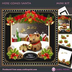 Here Comes Santa 2 on Craftsuprint designed by Isabel Neves - 4 Sheet Mini Kit Includes: Card Front, Card Inserts, Topper Decoupage, Decoupage Pieces, Sentiment Tag, Mini Print