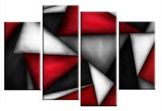 Triangles Abstract Red, White & Black Canvas Wall Art Picture 4 Panel 40 inch 101cm