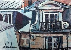 Paris Window Architecture ACEO watercolor by ChristyObalek on Etsy Paris Painting, Ink Painting, Watercolor Paintings, Original Paintings, Watercolor And Ink, Decorating Your Home, Windows, The Originals, Sketching