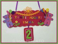 Il lato Perlato: Targa per festa di compleanno in feltro con decorazioni in crepla