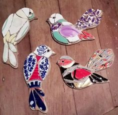 Mosaic Animals, Mosaic Birds, Mosaic Wall Art, Tile Art, Mosaic Glass, Mosaic Crafts, Mosaic Projects, China Crafts, Stained Glass Birds