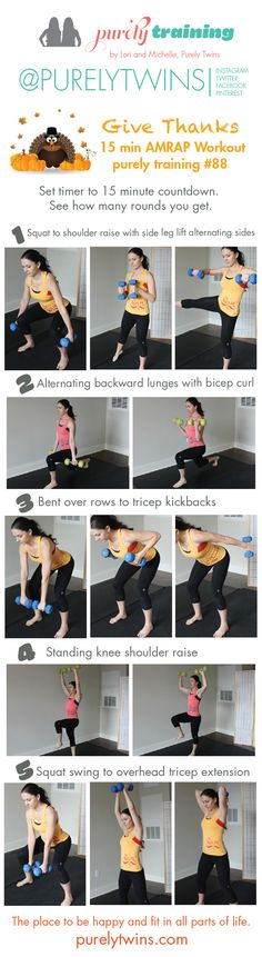 15 minute AMRAP home workout. Complete 10 reps of each exercise. Repeat the circuit until the 15 minutes is up. A great workout for post partum moms!