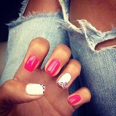 Bright Pink and White Cheetah Nails