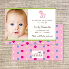 Photo Birth Announcement with Pink and Polka Dots