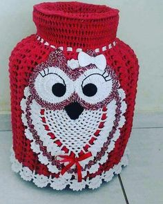Kitchen Bags Holder Pig pattern by Yana Muradian Crochet Home, Free Crochet, Crochet Applique Patterns Free, Owl Patterns, Crochet Videos, Crochet Projects, Owl Bathroom, Cappuccinos, Doilies Crochet