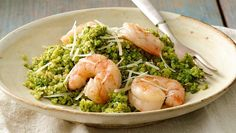 Quinoa, spinach and shrimp are great on their own, but when toasted quinoa, spinach pesto and earthy sauteed shrimp come together, the flavors are amazing!