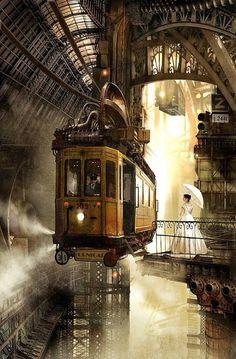 steampunk train station