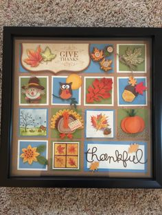 SU Framed Sampler Ideas Shadow box for a fall birthday. Box Frame Art, Shadow Box Frames, Thanksgiving Cards, Thanksgiving Decorations, Fall Birthday, Paper Crafts, Diy Crafts, Collage Frames, Candy Cards