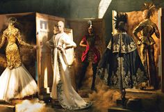 """""""noble farewell"""" {a tribute to alexander mcqueen} vogue july photographed by annie leibovitz and styled by grace coddington Grace Coddington, Alexander Mcqueen, Alexander Wang, Tanya Dziahileva, Annie Leibovitz Photography, Raquel Zimmermann, Frida Gustavsson, Art Costume, Costumes"""