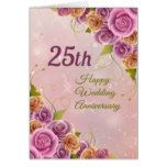 25th Wedding Anniversary Roses Greeting Card #weddinginspiration #wedding #weddinginvitions #weddingideas #bride
