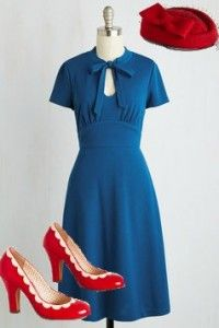 1940s-style outfit, modcloth - dark teal bow-tied keyhole-neck dress