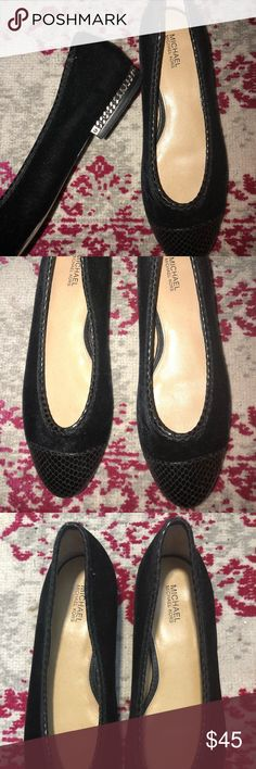 7.5 Rare Michael Kors Classy Flats 7.5 (fits more like a 7), Beautiful black snake leather pattern/velvet flats, smoke silver chain link on heel. Super classy flats, worn only about 2x's because, these were too tight on my feet. MICHAEL Michael Kors Shoes Flats & Loafers