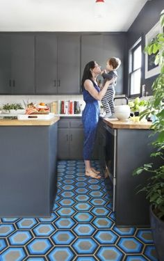 Overall Hexagon Ceramic Floor Tile in Kitchen | Kismet Tile as designed by Tracey Reinberg