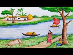 How to draw scenery of Ruposhi Bangla / landscape Oil Pastel Paintings, Oil Pastel Art, Oil Pastel Drawings, Scenery Drawing For Kids, Art Drawings For Kids, Drawing Ideas, Oil Pastel Landscape, Watercolor Landscape, Watercolor Flowers
