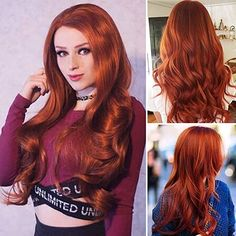 EEWIGS Red Wigs Lace Front Wig Synthetic Drag Queen Wigs Long Body Wave Halloween Wigs, Halloween Makeup Looks, Red Wigs, Middle Parts, Synthetic Lace Front Wigs, Long Curly, Lace Wigs, Waves, Cosplay