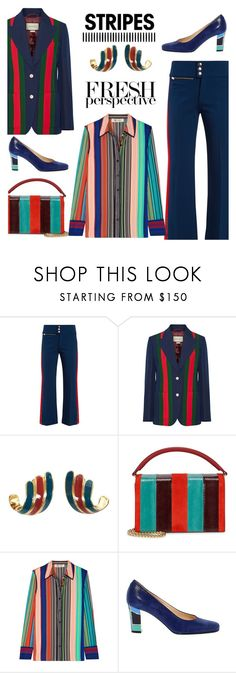 """""""Pattern Challenge: Stripes On Stripes"""" by faten-m-h ❤ liked on Polyvore featuring Gucci, Lanvin, Diane Von Furstenberg, stripesonstripes and PatternChallenge"""