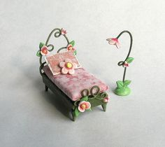 1/4 scale Miniature Fairy Bed and Lamp Set OOAK by ArtisticSpirit, $58.50