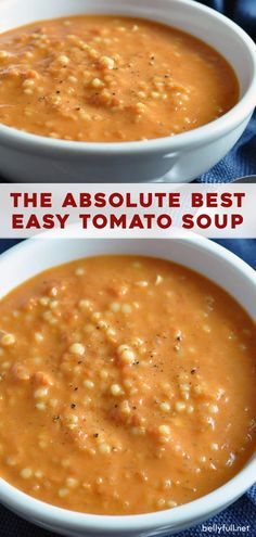 A super simple and easy tomato soup loaded with golden onions and tiny Acini di Pepe pasta, delivering bold wonderful flavor! Easy Tomato Soup Recipe, Easy Soup Recipes, Vegetarian Recipes, Cooking Recipes, Healthy Recipes, Simple Tomato Soup, Recipes With Tomato Soup, Tomato Soups, Healthy Soup