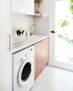 MY LAUNDRY RENOVATION REVEALED — Adore Home Magazine Love the white and wood combo, just white cabinets would be too white. The full light door makes the room sunny and cheerful. Laundry Decor, Laundry Room Organization, Laundry Room Design, Laundry In Bathroom, Laundry Closet, Organization Ideas, Laundry Storage, Organizing, Storage Ideas