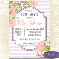 Bridal Shower Invitation - Pink Flowers Bridal Shower Invite - Purple and Pink Wedding Shower - Flower Bouquet - Floral - 1192 - PRINTABLE