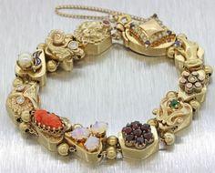 1910s-Antique-Victorian-14k-Solid-Yellow-Gold-Diamond-Coral-Opal-Slide-Bracelet