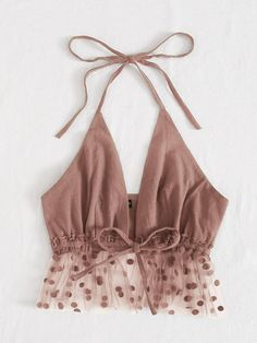 Tie Front and Back Polka Dot Flocked Mesh Hem Halter Top   SHEIN USA Teen Fashion Outfits, Trendy Outfits, Summer Outfits, Cute Outfits, Diy Clothes Design, Mode Kawaii, Jolie Lingerie, Crop Top Outfits, Fashion Sewing