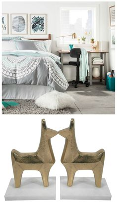 Cute Gold Llama Bookends | Ideas | College Dorm Room Decor ideas | Unique | Gold | Books Reading | Bed Room Living Room |