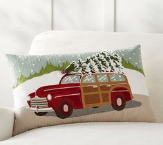 Woody Car Crewel Embroidered Lumbar Pillow Cover | Pottery Barn $70.