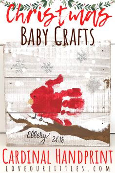 DIY Christmas Baby Crafts: Cardinal Handprint See how I made this cardinal hand print for a Christmas craft project with my baby! A perfect Christmas gift for grand parents! New Baby Crafts, Christmas Crafts For Kids To Make, Christmas Craft Projects, Preschool Christmas, Diy Crafts For Gifts, Toddler Christmas, Art Crafts, Diy Art, Christmas Ideas