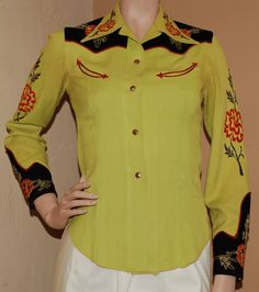 Vintage Vaquero Fashions chartreuse gabardine western shirt with contrasting black yoke and cuffs