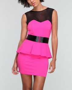 Baby Phat Pink Belted Peplum Dress DrJays.com
