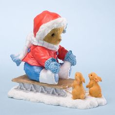 Cherished Teddies Collection - Girl Sledding With Bunnies Bear Figurine