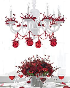 Love the garland and ornaments from the chandalier - great idea!