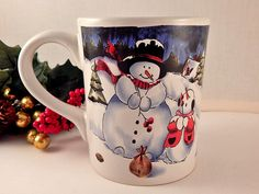 Snowman Snow Child Mug Ceramic Tableware Vintage Christmas 19 Oz Hot Cold…